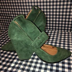 Jeffrey Campbell Green Suede Ankle Belt Pumps